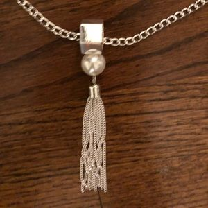 Jewelry - 30 inch Beautiful Silver Necklace with Tassel